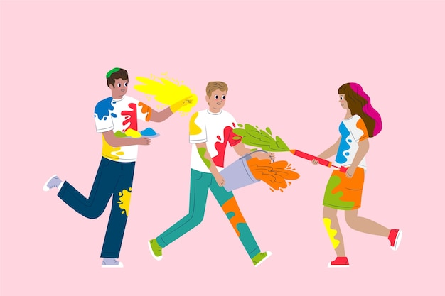 Люди празднуют праздник холи иллюстрированный дизайн