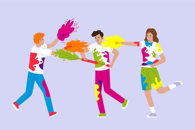 People celebrating holi festival illustrated theme