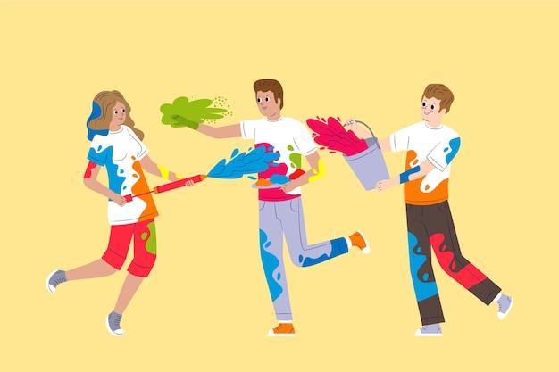People celebrating holi festival illustration