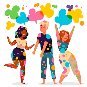 People celebrating holi festival illustration