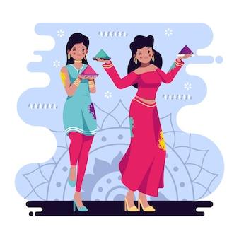 ホーリー祭のイラストを祝う人々