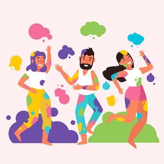 La gente che celebra l'illustrazione del festival di holi