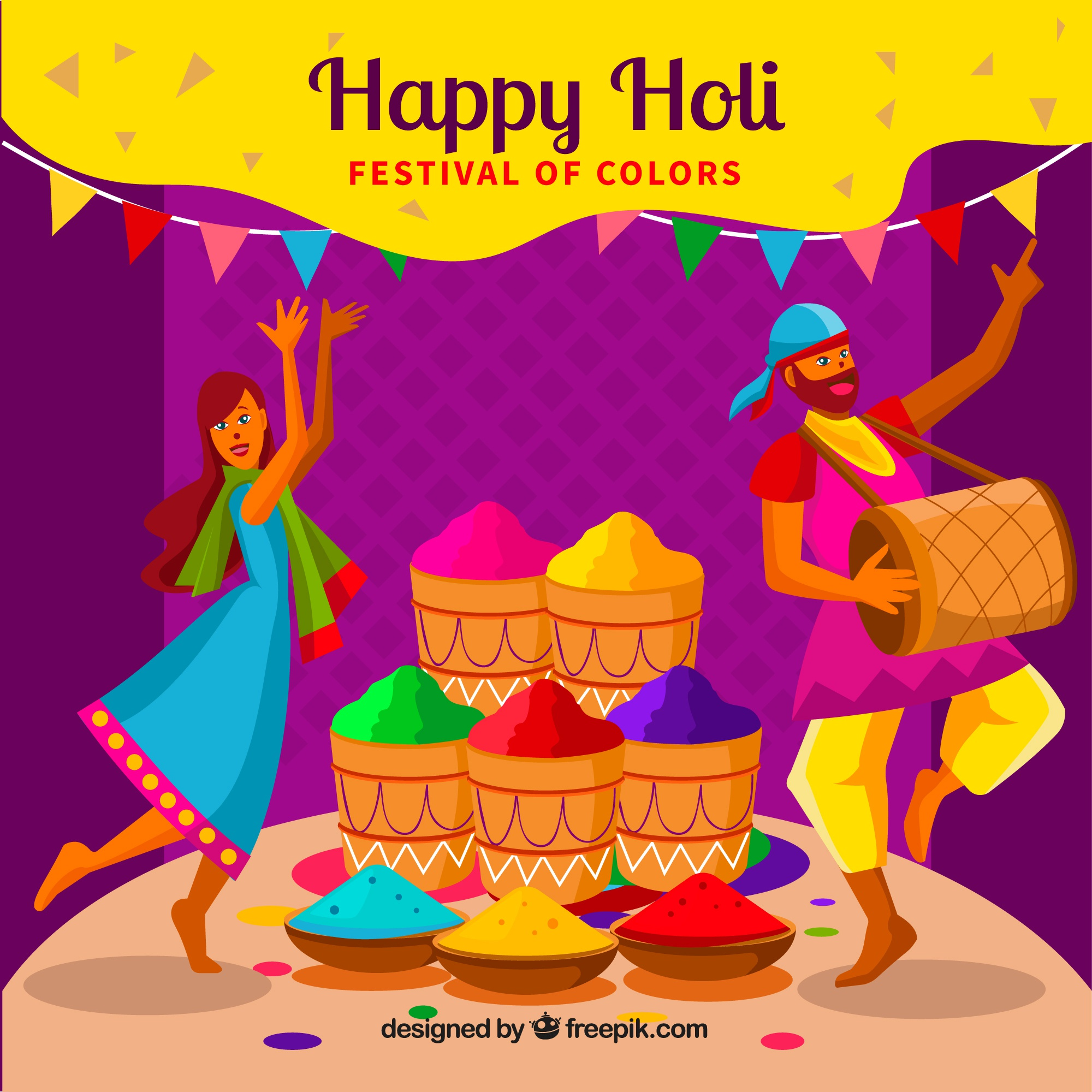 People celebrating holi festival in hand drawn style