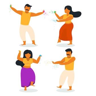 People celebrating holi festival set