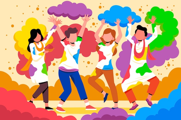 People celebrating holi festival with colorful powder