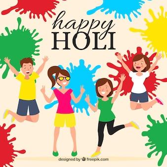People celebrating holi festival with paint splashes