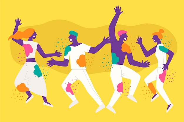 Люди празднуют праздник холи
