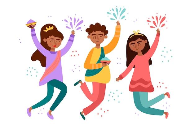 ホーリー祭を祝う人々