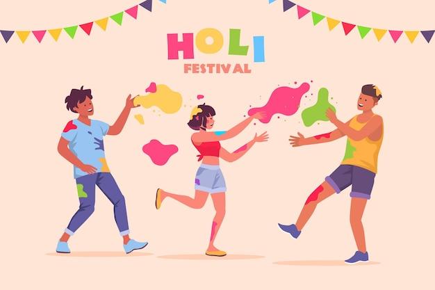 Holi 축제를 축하하는 사람들