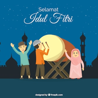 People celebrating idul fitri with flat design