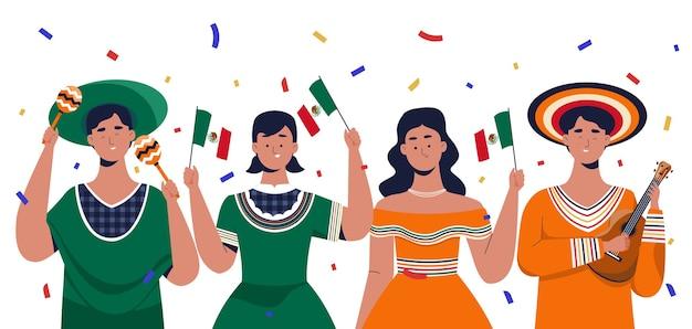 メキシコの独立記念日を祝う人々