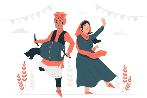 People celebrating lohri festival concept illustration