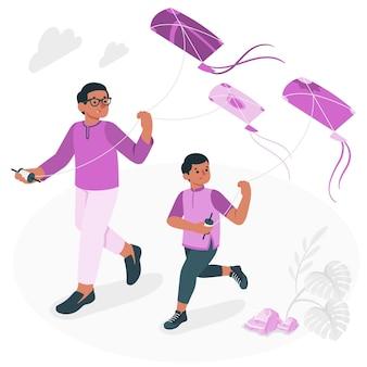People celebrating makar sankranticoncept illustration