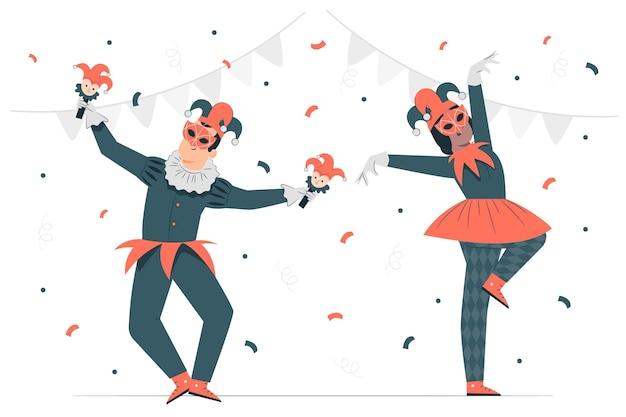 マルディグラのコンセプトイラストを祝う人々