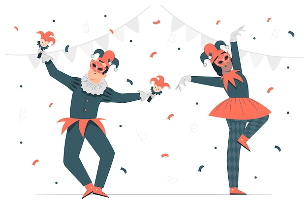 People celebrating mardi grasconcept illustration