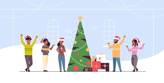 People celebrating merry christmas and happy new year holiday celebration eve party concept african american men women wearing santa hats drinking champagne flat full length horizontal vector illustra