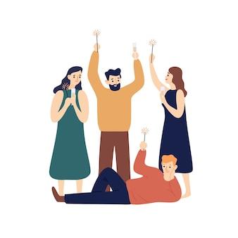 Люди празднуют новый год плоской иллюстрации.