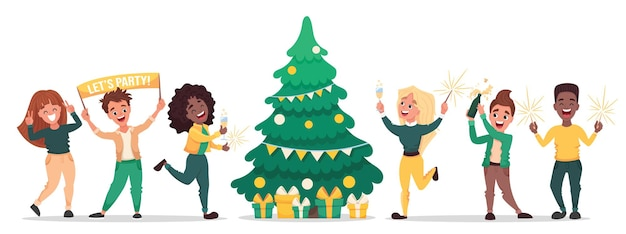 새해 또는 크리스마스 파티를 축하하는 사람들. 전나무 나무 친구 주위를 축하하는 만화 캐릭터 디자인. 평면 그림