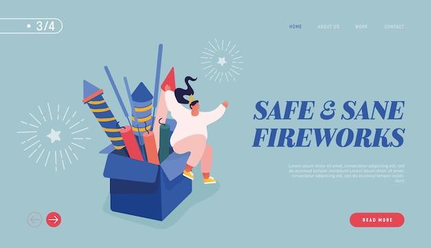 Webデザイン、バナー、モバイルアプリ、ランディングページの新年やハッピーバースデーパーティーを祝う人々。花火ロケットの爆発を見て、祝う女性キャラクター。