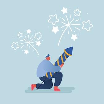 新年やハッピーバースデーパーティーを祝う人々。休日を祝う花火ロケットの爆発を開始して見ている男性と女性のキャラクター。