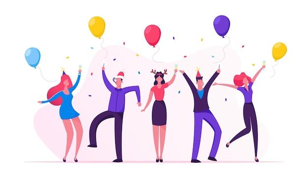 シャンパングラスと紙吹雪で新年会を祝う人々。漫画フラットイラスト
