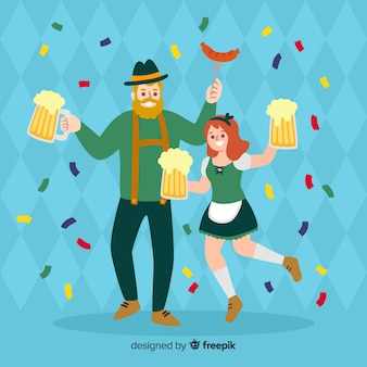 People celebrating oktoberfest cartoon style