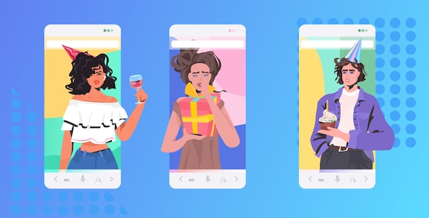 People celebrating online party friends having virtual fun celebration concept smartphone screen mobile app horizontal portrait illustration