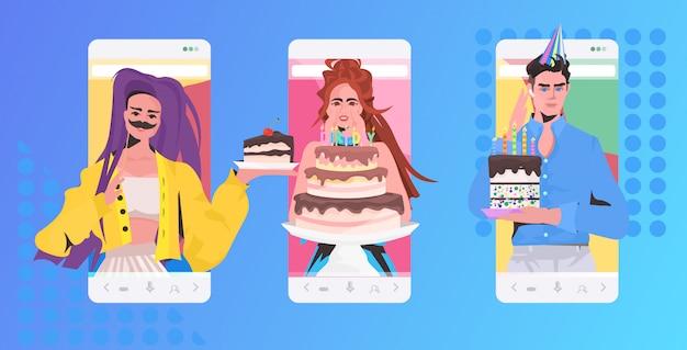 가상 재미 축하 개념을 갖는 온라인 파티 믹스 레이스 친구를 축하하는 사람들. 스마트 폰 화면 모바일 앱 가로 세로 그림