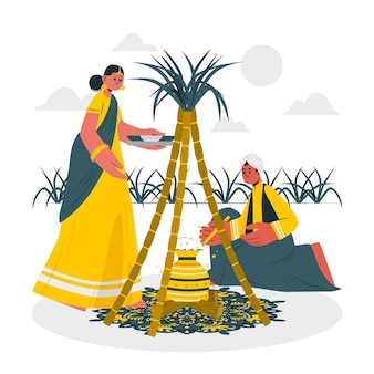 People celebrating pongal festival concept illustration