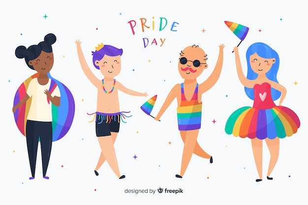 People celebrating pride day collection