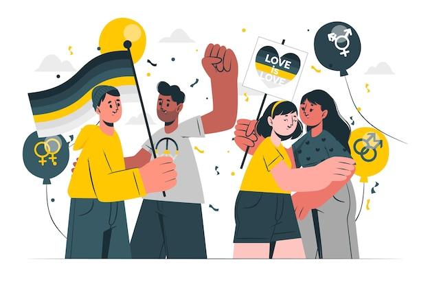 La gente che celebra l'illustrazione di concetto di giorno dell'orgoglio