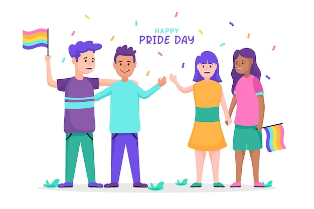 People celebrating pride day illustration