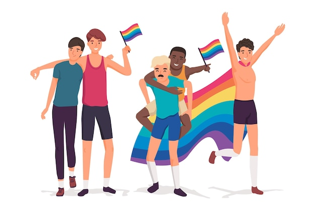 People celebrating pride day together