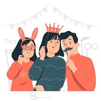 プリムの日のコンセプトイラストを祝う人々