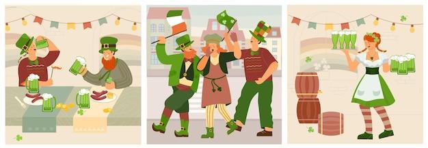 People celebrating saint patrick's day card set