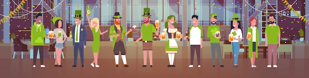 People celebrating saint patricks day illustration