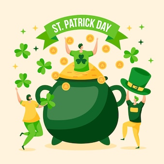 People celebrating st. patrick's day with cauldron of gold