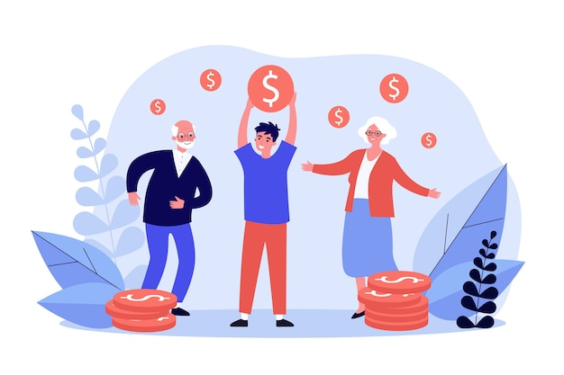 People celebrating successful investment in business in flat design