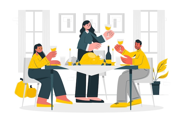 People celebrating thanksgiving concept illustration