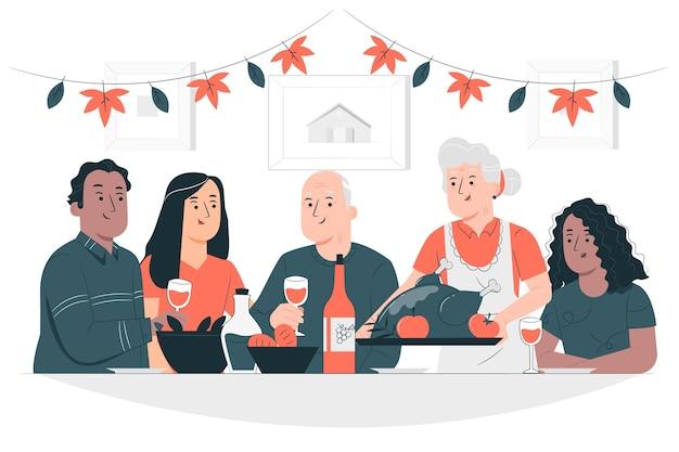 Persone che celebrano il concetto di ringraziamento illustrazione