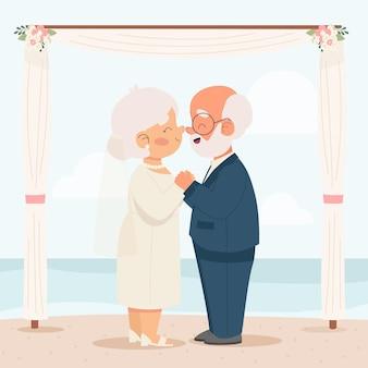 Люди празднуют годовщину своей золотой свадьбы