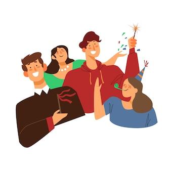 People celebrating together illustration