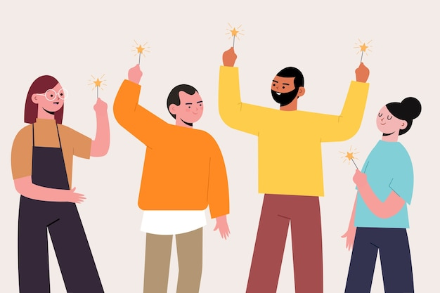 People celebrating together illustration