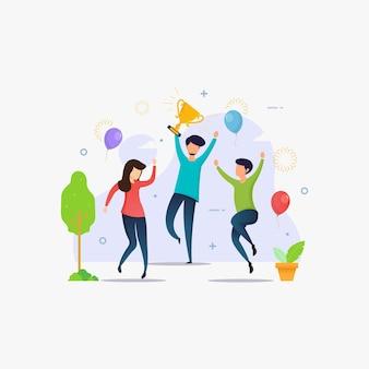 勝利を祝って達成報酬を獲得する人々
