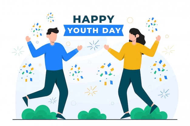 People celebrating youth day illustrated