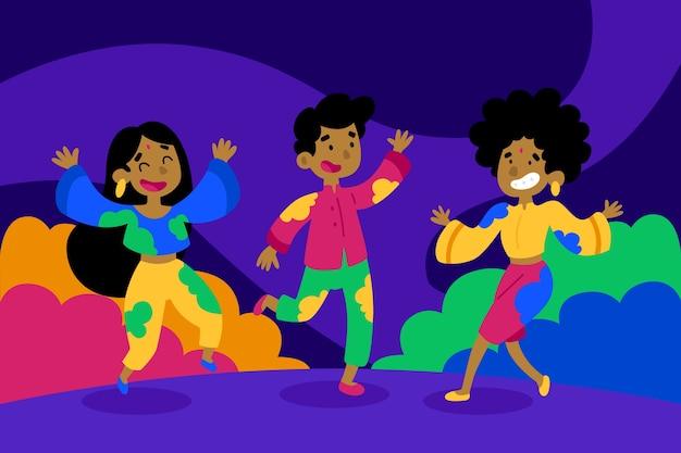 人々のお祝いホーリー祭コンセプト