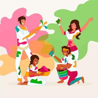 People celebration holi festival illustrated