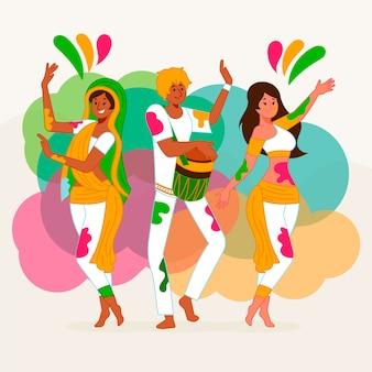 Люди праздник холи фестиваль иллюстрация