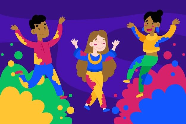 People celebration holi festival