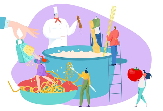 People character cook food dish, man woman cooking concept illustration